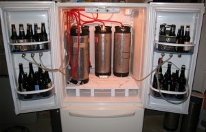 Best choice: a bottom-freezer fridge w/ room for 6+ soda kegs.
